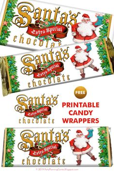 FREE Printable Holiday Santa Candy Bar Wrapper Templates #diyholidays #diygifts #CarlaChadwick