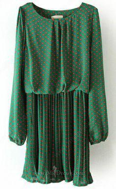 Green Long Sleeve Polka Dot Pleated Chiffon Dress