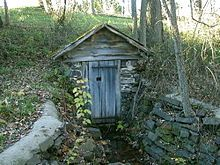 springhouse, is a small building used for refrigeration once commonly found in rural areas before the advent of electric refrigeration. It is usually a one-room building constructed over the source of a spring. The water of the spring maintains a constant cool temperature inside the spring house throughout the year. In settings where no natural spring is available, another source of natural running water, such as a small creek or diverted portion of a larger creek, may be used.