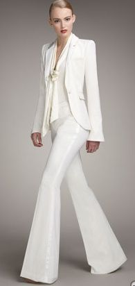 Tailored Tuxedo Jacket, Tie-Neck Plunge Blouse & Boot-Cut Tuxedo Pants by Rachel Zoe at Neiman Marcus. - No one does wide leg pants better than Rachel Zoe in this day and age. She embodies style. Fashion Moda, Look Fashion, Womens Fashion, Modern Fashion, Fashion Outfits, Terno Casual, Smoking Noir, Tuxedo Pants, Tuxedo Jacket
