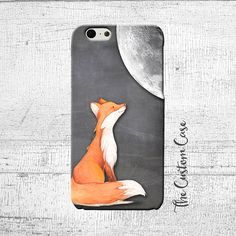 Fox and Moon Phone Case, Chalkboard Fox Cell Phone Case, Iphone 4/5/5c/6/6+/6s, Samsung Galaxy S3/S4/S5/S6/S6 Edge/6Edge+, Note 3/4/5