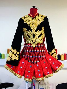 Irish Dance Solo Dress Costume. Silver not gold and remove the black embroidery on the waist.