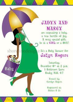 custom mardi gras theme baby shower invite you print