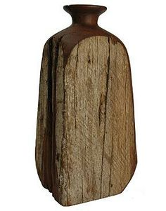 Unusual Japanese Inspired Carved 1950s Wooden Vase