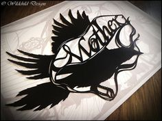 Mother's Day Flying Crow Bird & Banner Paper Cutting Template Tattoo Style Gothic for Personal or Commercial Use Papercut Cut Mothers Day