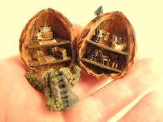 From DJD fairy house in a walnut shellwith by DebJacksonDesigns