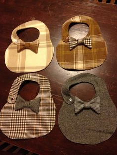 Boys plaid tweed bow tie bib... I think I could make one of these
