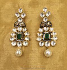 Gold Plated Kundan Earrings, Gold Plated Earrings with Kundans, Kundan Designer Earrings, Imitation Kundan Earrings