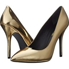 Pierre Balmain Metallic Lightning Bolt Pump (Gold Mirror) Women's... ($238) ❤ liked on Polyvore featuring shoes, pumps, heels, balmain, gold, gold heel pumps, metallic heel pumps, metallic gold shoes, mirror pumps and gold heel shoes