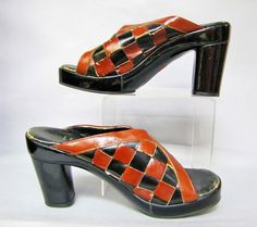 Mod CHECKERBOARD Vintage 70's LEATHER and Wood PLATFORM Women's Shoes Size 10 N by IncogneetoVintage on Etsy