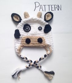 Looking for your next project? You're going to love Crochet Cow Hat Pattern, All Sizes by designer Crochet Hat Pattern Kids, Crochet Cow, Cow Pattern, Crochet Ideas, Crochet Hooks, Crochet Projects, Crochet Patterns, Hat Patterns, Cow Hat