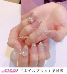 #ブライダル #ブライダルネイル #バレンタインネイル #うるつやネイル #大人可愛いネイル #透明感 #くすみカラー #オフィスネイル #キラキラ #クリスタルピクシー|ネイルデザインを探すならネイル数No.1のネイルブック Korean Nail Art, Korean Nails, Japanese Nail Design, Japanese Nails, Pretty Nail Art, Cute Nail Art, Chic Nails, Stylish Nails, Gem Nails