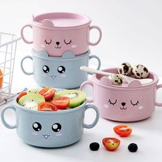 Serve and savor your favorite food. The Cartoon Bowl with Handles features a cute cartoon face, two ear-like handles, and a lid that keeps your food hot until it's time to eat. Cute Kitchen, Kitchen Dishes, Kitchen Items, Cool Kitchen Gadgets, Cool Kitchens, Craft Stick Crafts, Easy Crafts, Cute Cartoon Faces, Easter Bunny Decorations