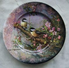 Decoupage Vintage, Decoupage Plates, Painted Plates, China Painting, Tole Painting, Fabric Painting, Painting On Wood, Diy Crafts To Do, Diy Arts And Crafts