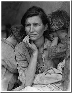 """Migrant Mother"", is one of a series of photographs that Dorothea Lange made of Florence Owens Thompson and her children in Nipomo, California in 1936."