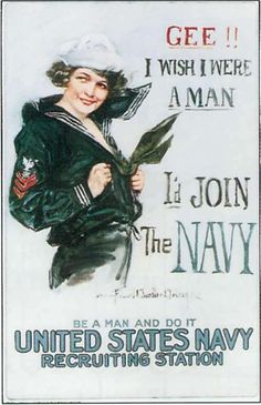 This is a source of a woman complaining about wanting to be a man so she could join the Navy. This is credible because it's a real propaganda poster from WW2. This tricks men into thinking that they're superior and that to be a real man, they have to join the Navy. It makes women feel bad about themselves and less important.