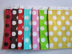24 Polka Dot Party Favor Goodie Treat Bags by DKDeleKtables, $7.00
