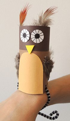 Cute wristlet owl craft -- could be used for Harry Potter night or storytime with an owl theme