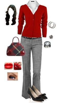 "could use a red cardigan and thin black belt, i like the ""textured"" pattern of the pants too"