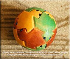 Wooden ball tessellation by Hungarian artist Tamas Szegeti