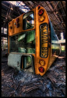 I read an article recently about two children who were found living in an abandoned school bus. Hm.