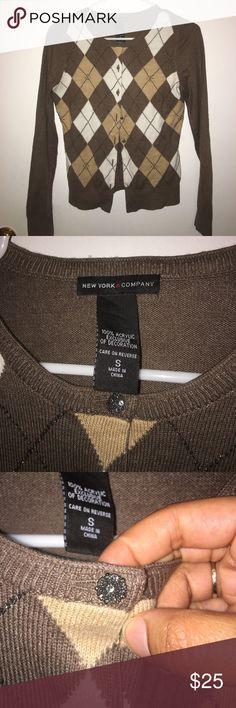 New York & Company Cardigan Beautiful brown and cream cardigan...Favorite work sweater!!😊...Argyle print in front with beautiful buttons!!! New York & Company Sweaters Cardigans