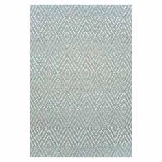 Dash & Albert Outdoor Rug Diamond Light Blue Ivory 91x152