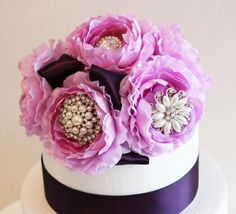 Lavender Wedding Cake Topper -Rhinestone and Pearls, Wedding centerpieces, Lavender and Purple Wedding Decorations, Wedding Accessory on Etsy, $120.00