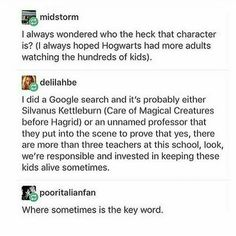 some teacher at Hogwarts (context needed)