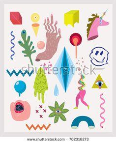 Acid doodle set. Smile, plants, shape,unicorn