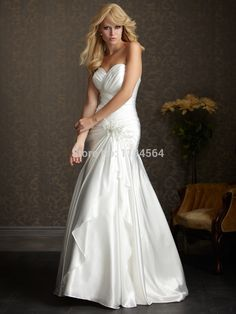 >> Click to Buy << In Stock Cheap Wedding Dresses A Line Bridal Gowns Taffeta Vestido De Noiva 2015 Flower Waist In Stock US Size 2 -16 WH591 #Affiliate