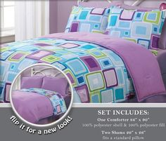 (Click to order - $34.99) 3 Pieces Reversible Purple, Blue, and Light Grey Geo Square Comforter and 2 Sham Set Queen Size Bedding From S.L. Collection