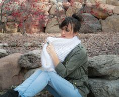 Powdered Sugar Crochet Cowl Pattern:  *Size US Size P16 / 10mm Crochet Hook *2 skeins Buttercream Angel Hair Yarn from JoAnns or comparable yarn; Chain 74, slip stitch to join, ch 1;  Round 1 until you use up both skeins of yarn – single crochet around (no need to join each round, or count rounds)
