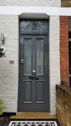 34 Ideas For Victorian Front Door Downpipe Glass Garage Door, Glass Front Door, Sliding Glass Door, Grey Composite Front Door, Grey Front Doors, Front Door Farrow And Ball, House Front Door, Etched Glass Door, Traditional Front Doors
