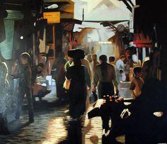 Soukj light by thomas saliot Thomas Saliot, Art Fund, Sign Printing, Urban Landscape, Modern Art, Pop Art, Fine Art, Canvas, Morocco