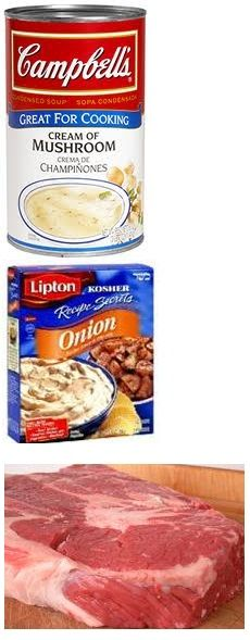 Pot Roast with perfect gravy - 1 large can of mushroom soup in crock pot.  Mix in I envelope of Onion Soup Mix.  Place roast in.  Cover and cook on low all day.  Ready at dinner time.