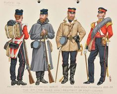 The (The King's Own) Regiment of Foot; Privates of Greandier and Battalion Companies; Officers of Battalion and Grenadier Companies - (Crimea) British Army Uniform, British Uniforms, British Soldier, Military Art, Military History, Military Uniforms, Uniform Insignia, Crimean War, Army & Navy