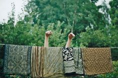 he he this is what my laundry looks like, too :)  (I love Indian block print anything)