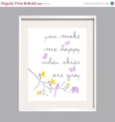 Kids Wall Art You Make Me Happy for Grey Yellow and Purple Suzanni Bedding and Fabrics Elephant Print8x10wall art