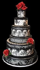 "another ""black lace"" wedding cake..but with a ""dash"" of red roses..kinda odd and cool..for a 2nd wedding?"