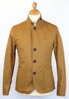 PETER WERTH Frey Mens Retro 60s Mod Military Blazer Jacket Tan