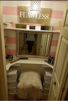 So Todd decided to treat her and turn their spare closet into something amazing: her very own walk-in vanity! | This Husband Who Built His Wife A Seriously Gorgeous Makeup Vanity Has Everyone Swooning - BuzzFeed News