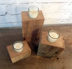 Rustic Barn Wood Candle Holder Set of 3 // by ThePinkToolBox, $16.00
