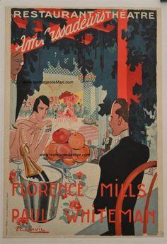Affiche pour le concert des musiciens de jazz Florence Mills et Paul Whiteman, aux Ambassadeurs (Paris), en 1926. 54,2 x 37,8 cm. Original document. www.lesimagesdemarc.com