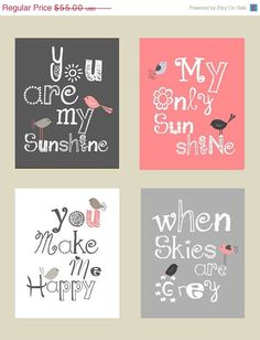 Sale 35 Off You are my sunshine Pink and Gray Art by LittlePergola, $35.75