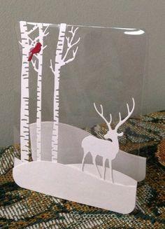 weihnachtskarten basteln einfache plastisch transparent