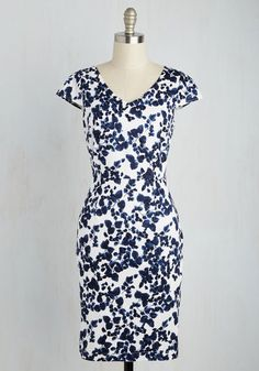 Impressive Accomplishments Dress in Navy - Blue, White, Floral, Print, Daytime Party, Sheath, Short Sleeves, Spring, Woven, Good, Mid-length, Cotton, Variation