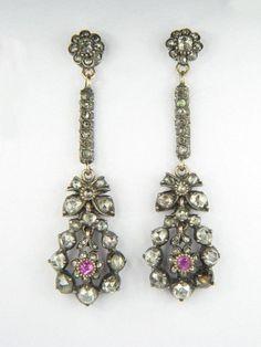 Beautiful Antique Georgian Period Gold Silver Diamond Ruby Pendant Earrings 1800 | eBay