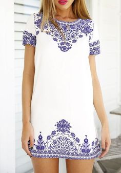 Blue-White Floral Short Sleeve Vintage Loose Dress