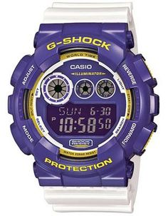 e9c770f84e9 Casio G-Shock Big Case with Flash Alert - Purple and Yellow Case - White  Strap